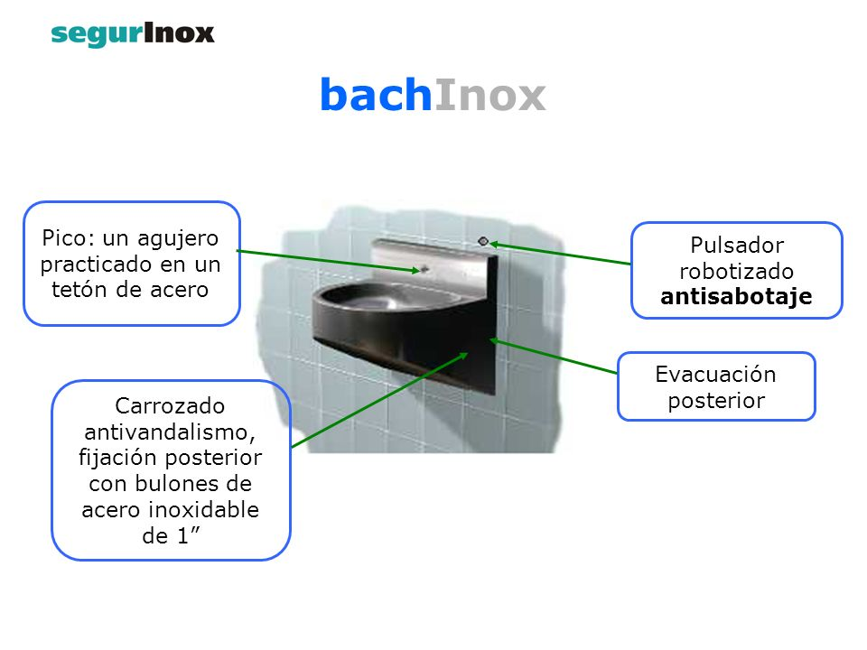 Evacuación posterior bachInox Pico: un agujero practicado en un tetón de acero Carrozado antivandalismo, fijación posterior con bulones de acero inoxidable de 1 Pulsador robotizado antisabotaje
