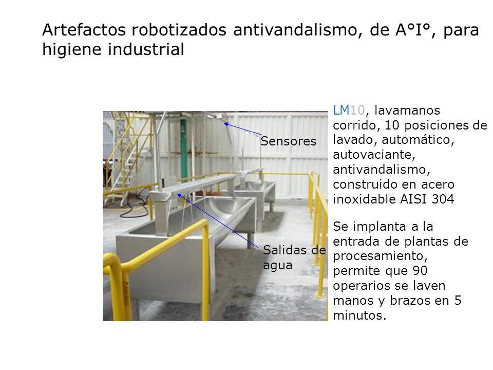 Sensores Salidas de agua LM10, lavamanos corrido, 10 posiciones de lavado, automático, autovaciante, antivandalismo, construido en acero inoxidable AI