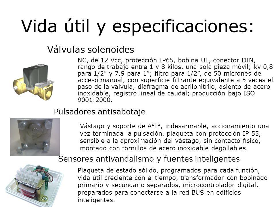 Vida útil y especificaciones: Sensores antivandalismo y fuentes inteligentes Plaqueta de estado sólido, programados para cada función, vida útil creci