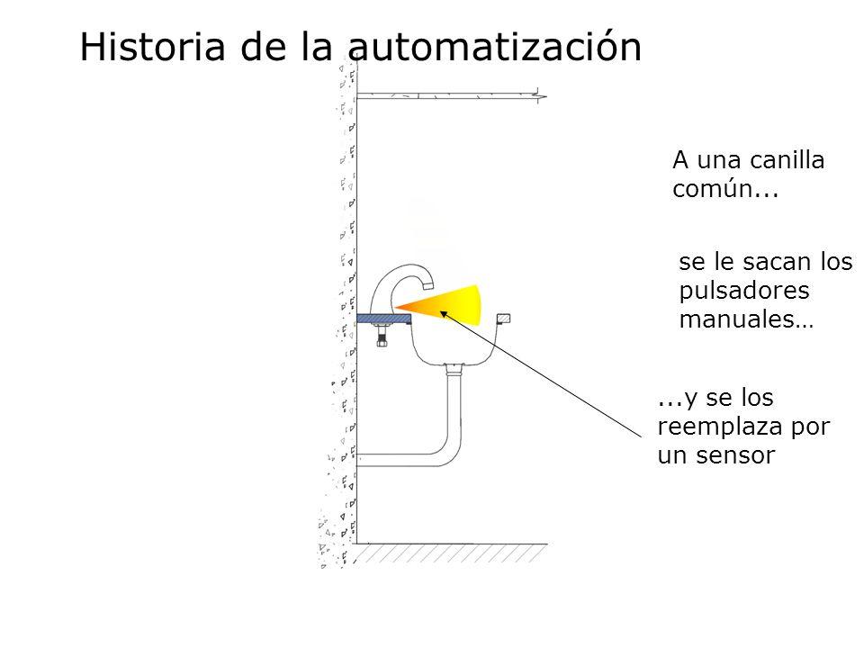 ...y se los reemplaza por un sensor A una canilla común... Historia de la automatización se le sacan los pulsadores manuales…