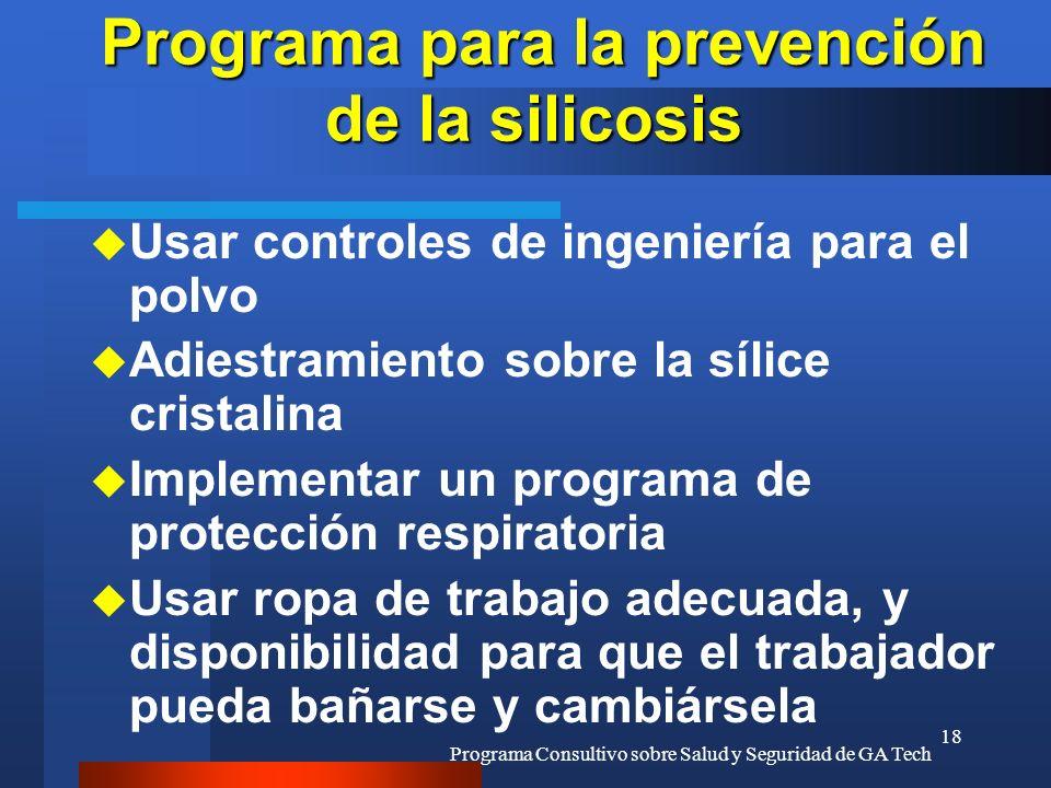 Programa Consultivo sobre Salud y Seguridad de GA Tech 18 Programa para la prevención de la silicosis Programa para la prevención de la silicosis u Us