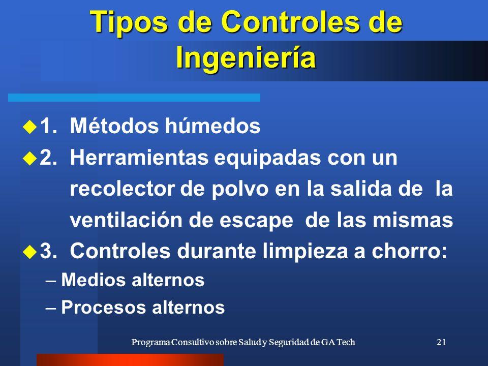 Programa Consultivo sobre Salud y Seguridad de GA Tech21 Tipos de Controles de Ingeniería u 1. Métodos húmedos u 2. Herramientas equipadas con un reco