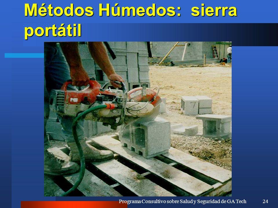 Programa Consultivo sobre Salud y Seguridad de GA Tech24 Métodos Húmedos: sierra portátil