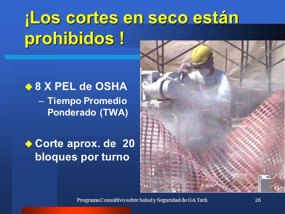 Programa Consultivo sobre Salud y Seguridad de GA Tech26 ¡Los cortes en seco están prohibidos ! u 8 X PEL de OSHA –Tiempo Promedio Ponderado (TWA) u C