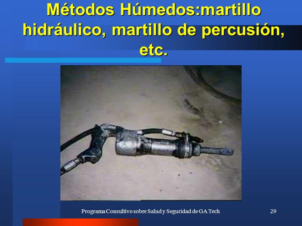 Programa Consultivo sobre Salud y Seguridad de GA Tech29 Métodos Húmedos:martillo hidráulico, martillo de percusión, etc.