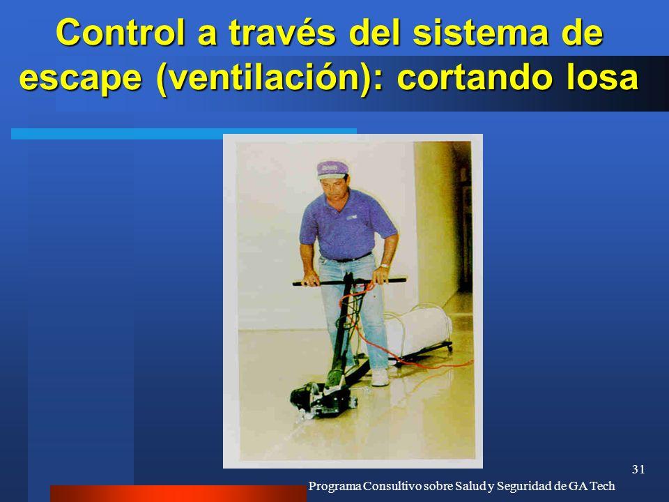 Programa Consultivo sobre Salud y Seguridad de GA Tech 31 Control a través del sistema de escape (ventilación): cortando losa