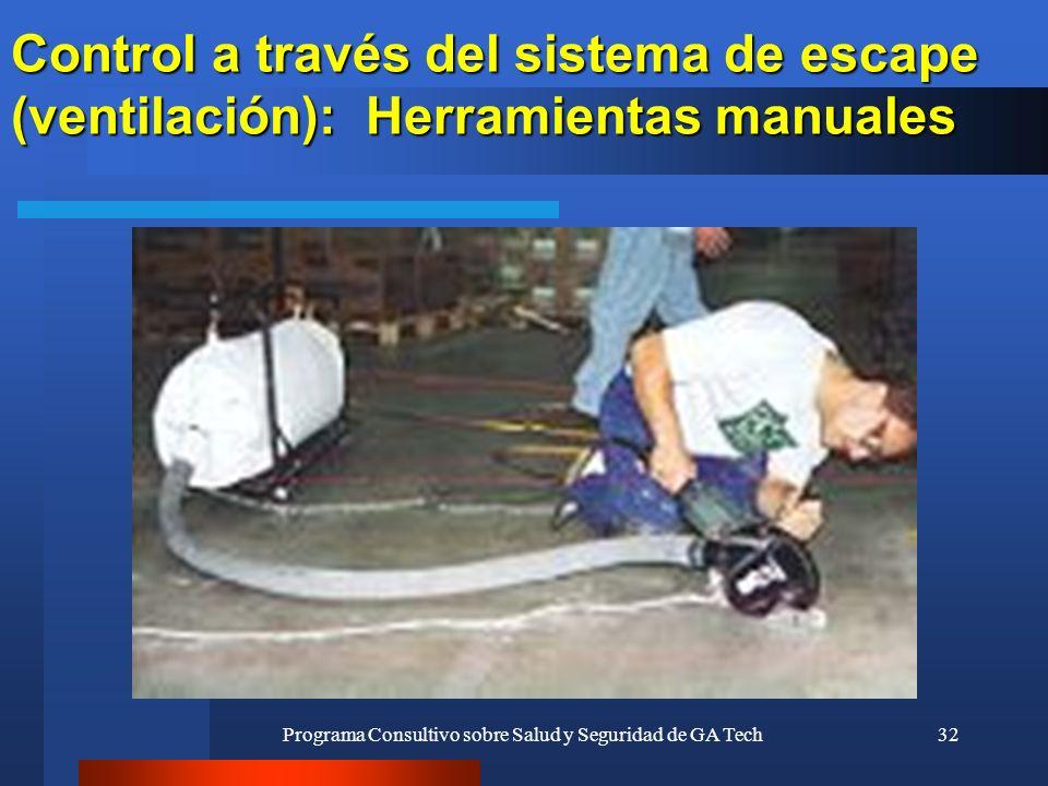 Programa Consultivo sobre Salud y Seguridad de GA Tech32 Control a través del sistema de escape (ventilación): Herramientas manuales