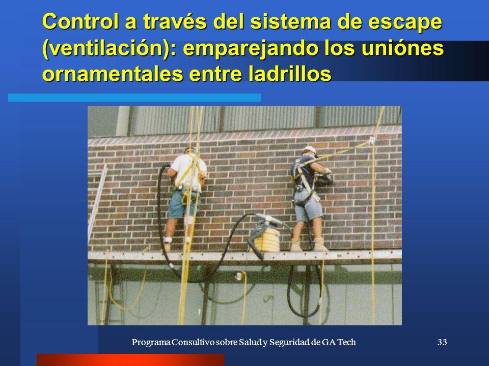 Programa Consultivo sobre Salud y Seguridad de GA Tech33 Control a través del sistema de escape (ventilación): emparejando los uniónes ornamentales en