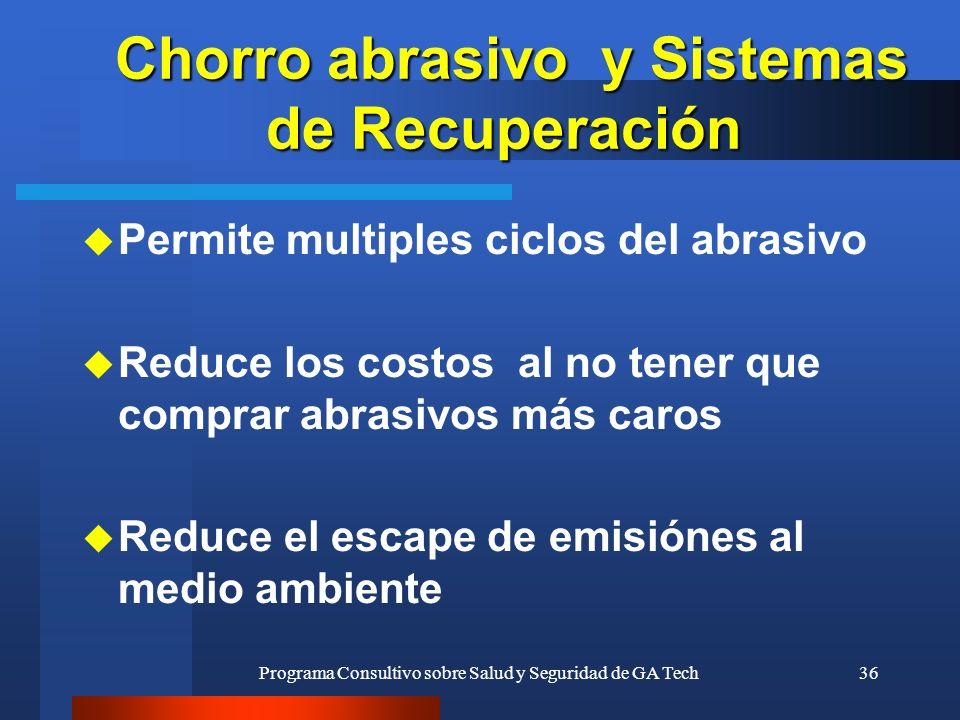 Programa Consultivo sobre Salud y Seguridad de GA Tech36 Chorro abrasivo y Sistemas de Recuperación Chorro abrasivo y Sistemas de Recuperación u Permi