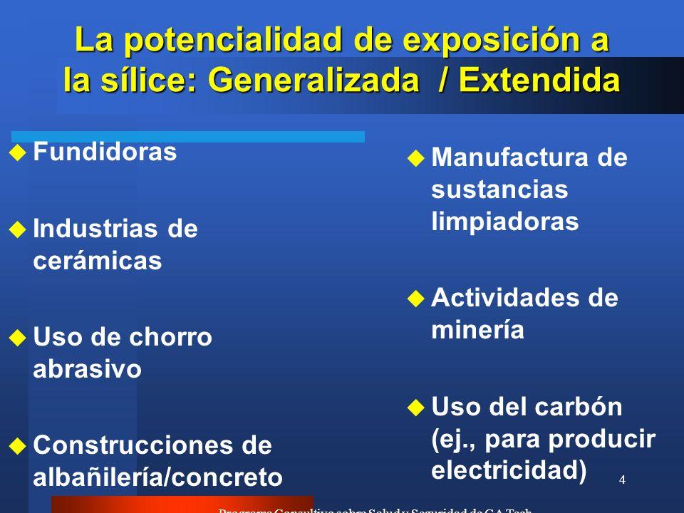 Programa Consultivo sobre Salud y Seguridad de GA Tech 4 La potencialidad de exposición a la sílice: Generalizada / Extendida u Fundidoras u Industria