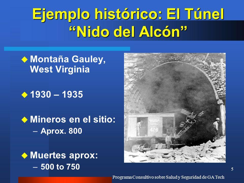 Programa Consultivo sobre Salud y Seguridad de GA Tech 5 Ejemplo histórico: El Túnel Nido del Alcón u Montaña Gauley, West Virginia u 1930 – 1935 u Mi