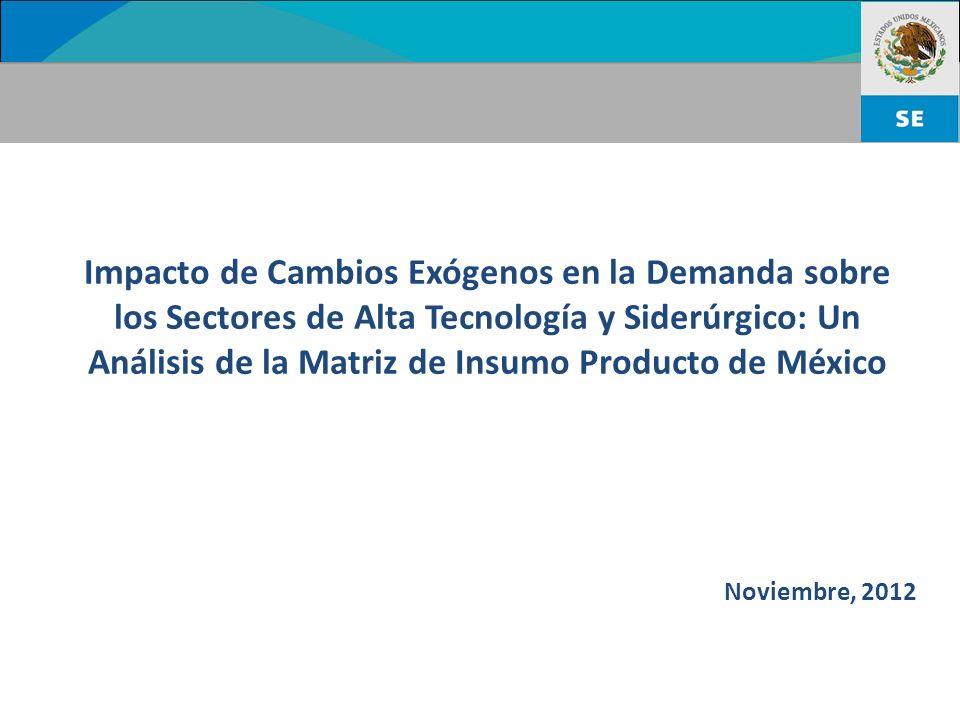 Impacto de Cambios Exógenos en la Demanda sobre los Sectores de Alta Tecnología y Siderúrgico: Un Análisis de la Matriz de Insumo Producto de México Noviembre, 2012