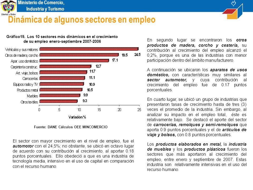 Ministerio de Comercio, Industria y Turismo Dinámica de algunos sectores en empleo Gráfico19.