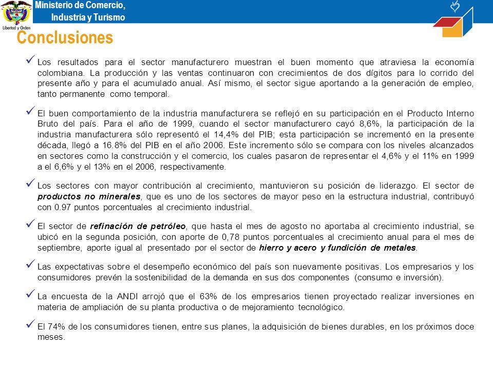 Ministerio de Comercio, Industria y Turismo Conclusiones Los resultados para el sector manufacturero muestran el buen momento que atraviesa la economía colombiana.