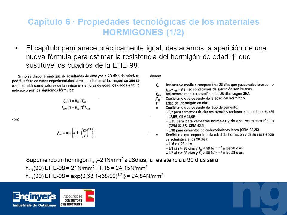Capítulo 6 · Propiedades tecnológicas de los materiales HORMIGONES (1/2) El capítulo permanece prácticamente igual, destacamos la aparición de una nue