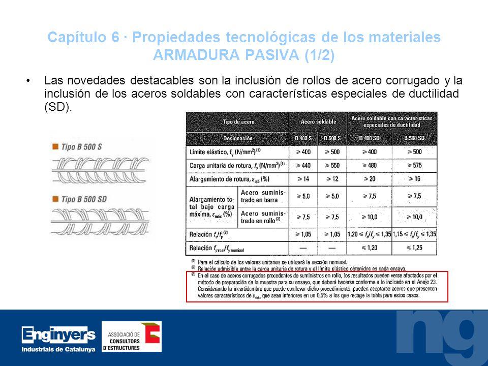 Capítulo 6 · Propiedades tecnológicas de los materiales ARMADURA PASIVA (1/2) Las novedades destacables son la inclusión de rollos de acero corrugado