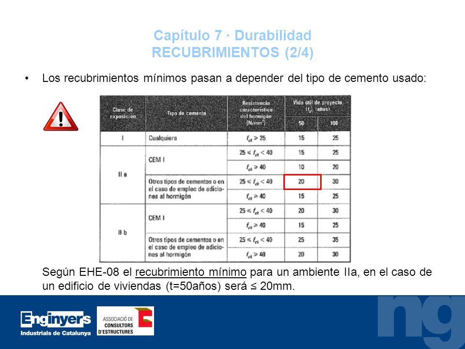 Capítulo 7 · Durabilidad RECUBRIMIENTOS (2/4) Los recubrimientos mínimos pasan a depender del tipo de cemento usado: Según EHE-08 el recubrimiento mín