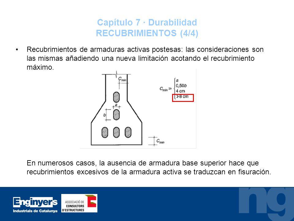 Capítulo 7 · Durabilidad RECUBRIMIENTOS (4/4) Recubrimientos de armaduras activas postesas: las consideraciones son las mismas añadiendo una nueva lim