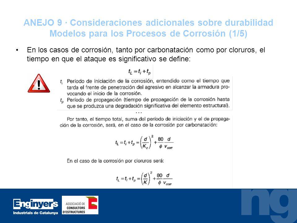 ANEJO 9 · Consideraciones adicionales sobre durabilidad Modelos para los Procesos de Corrosión (1/5) En los casos de corrosión, tanto por carbonatació