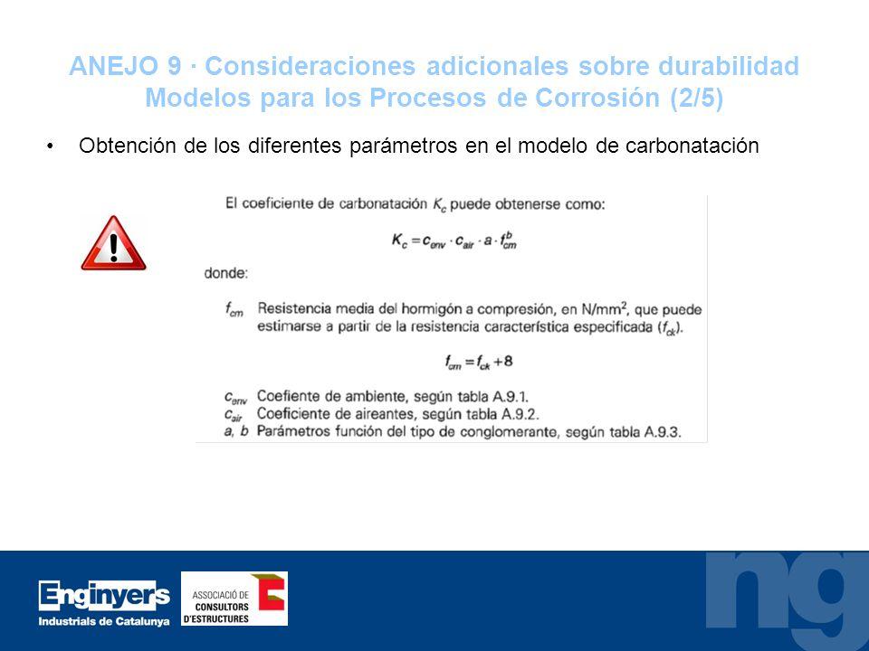 ANEJO 9 · Consideraciones adicionales sobre durabilidad Modelos para los Procesos de Corrosión (2/5) Obtención de los diferentes parámetros en el mode