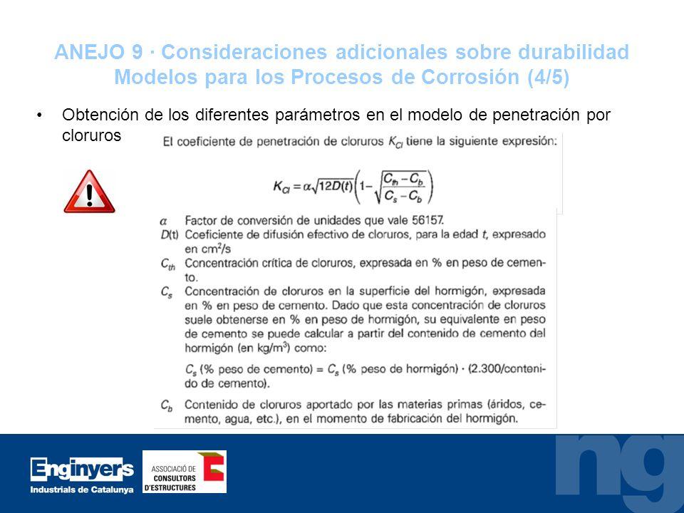 ANEJO 9 · Consideraciones adicionales sobre durabilidad Modelos para los Procesos de Corrosión (4/5) Obtención de los diferentes parámetros en el mode