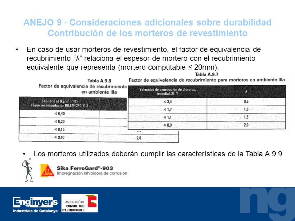 ANEJO 9 · Consideraciones adicionales sobre durabilidad Contribución de los morteros de revestimiento En caso de usar morteros de revestimiento, el fa