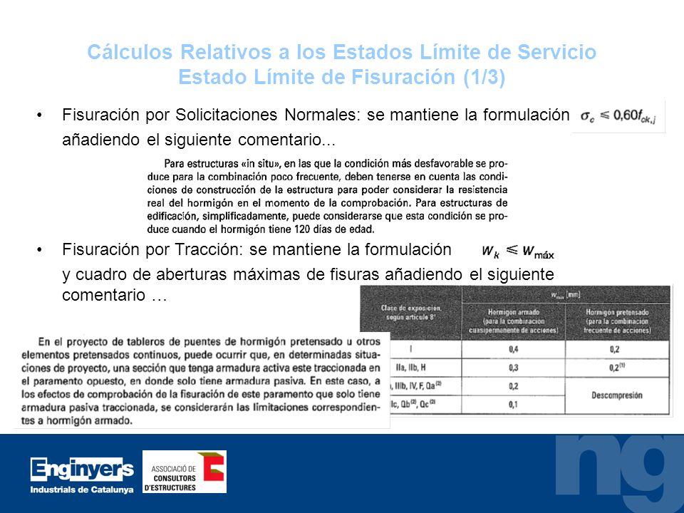 Cálculos Relativos a los Estados Límite de Servicio Estado Límite de Fisuración (1/3) Fisuración por Solicitaciones Normales: se mantiene la formulaci