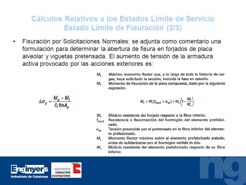 Cálculos Relativos a los Estados Límite de Servicio Estado Límite de Fisuración (2/3) Fisuración por Solicitaciones Normales: se adjunta como comentar