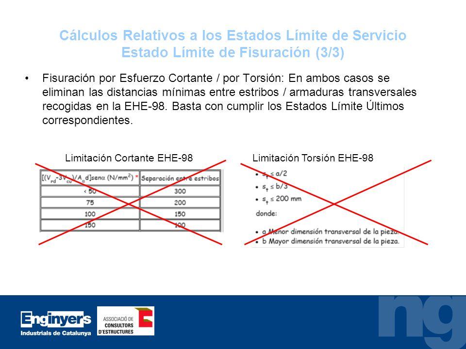 Cálculos Relativos a los Estados Límite de Servicio Estado Límite de Fisuración (3/3) Fisuración por Esfuerzo Cortante / por Torsión: En ambos casos s