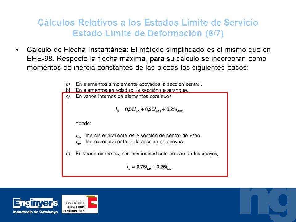 Cálculos Relativos a los Estados Límite de Servicio Estado Límite de Deformación (6/7) Cálculo de Flecha Instantánea: El método simplificado es el mis