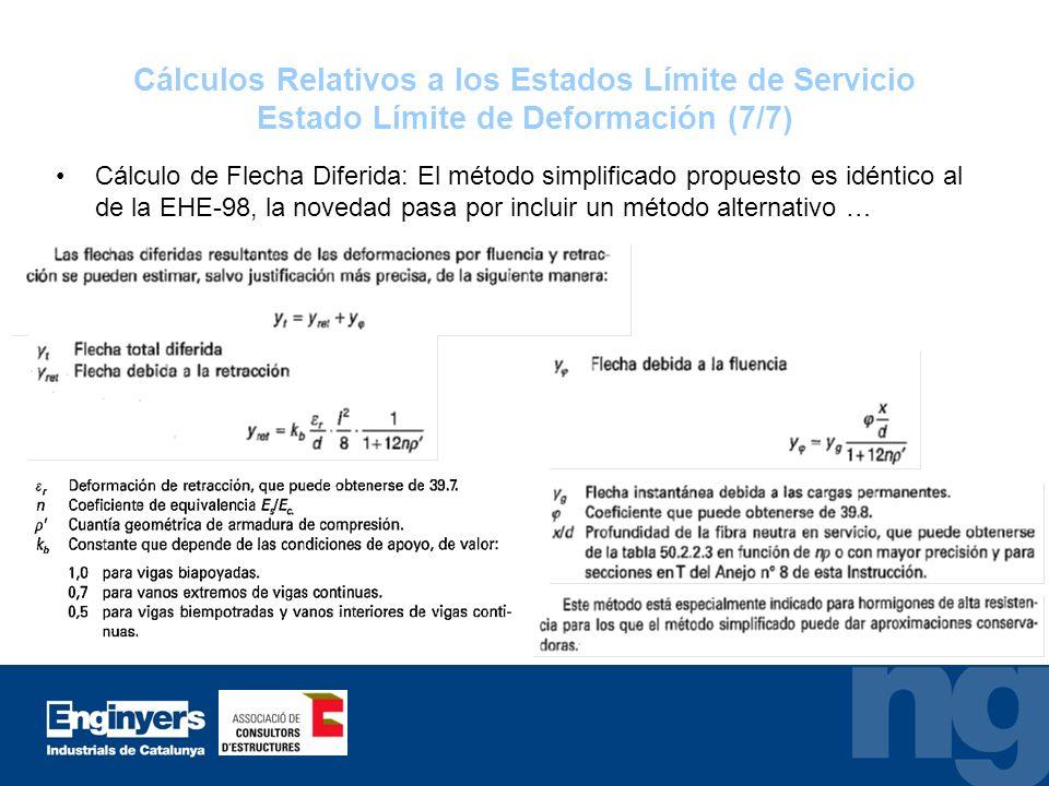 Cálculos Relativos a los Estados Límite de Servicio Estado Límite de Deformación (7/7) Cálculo de Flecha Diferida: El método simplificado propuesto es