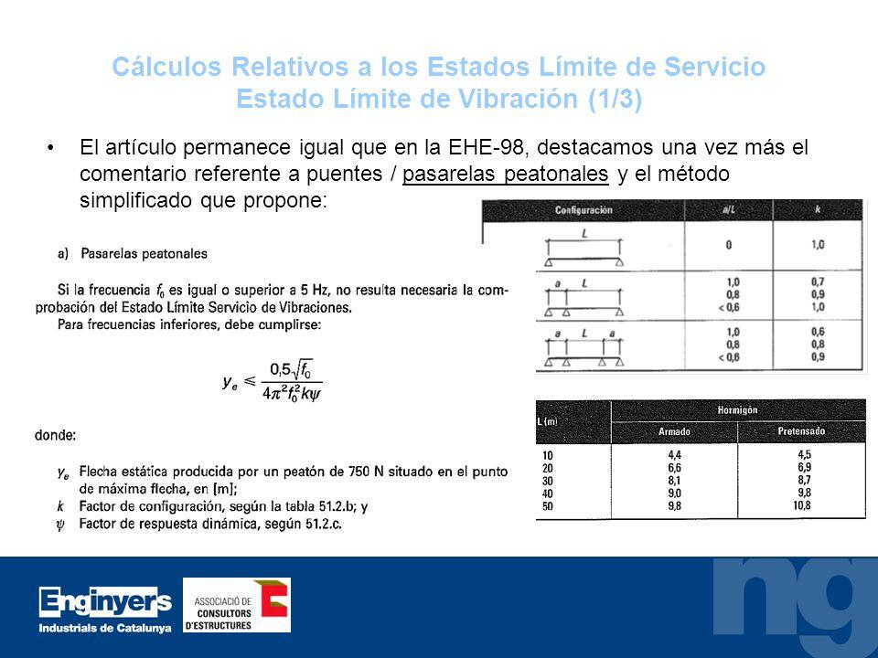 Cálculos Relativos a los Estados Límite de Servicio Estado Límite de Vibración (1/3) El artículo permanece igual que en la EHE-98, destacamos una vez