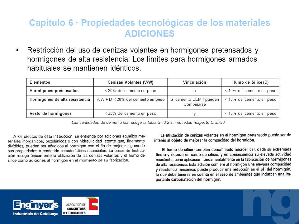 Capítulo 6 · Propiedades tecnológicas de los materiales ADICIONES Restricción del uso de cenizas volantes en hormigones pretensados y hormigones de al