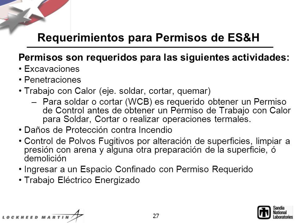 27 Requerimientos para Permisos de ES&H Permisos son requeridos para las siguientes actividades: Excavaciones Penetraciones Trabajo con Calor (eje.