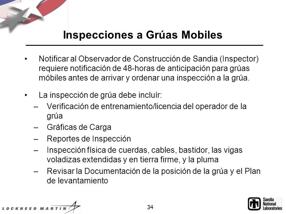 34 Inspecciones a Grúas Mobiles Notificar al Observador de Construcción de Sandia (Inspector) requiere notificación de 48-horas de anticipación para grúas móbiles antes de arrivar y ordenar una inspección a la grúa.