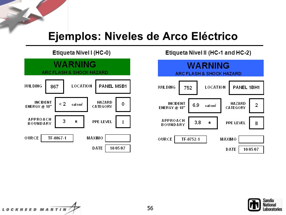 56 Ejemplos: Niveles de Arco Eléctrico Etiqueta Nivel I (HC-0) Etiqueta Nivel II (HC-1 and HC-2)