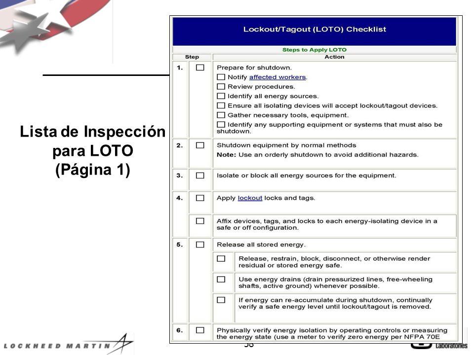 58 Lista de Inspección para LOTO (Página 1)