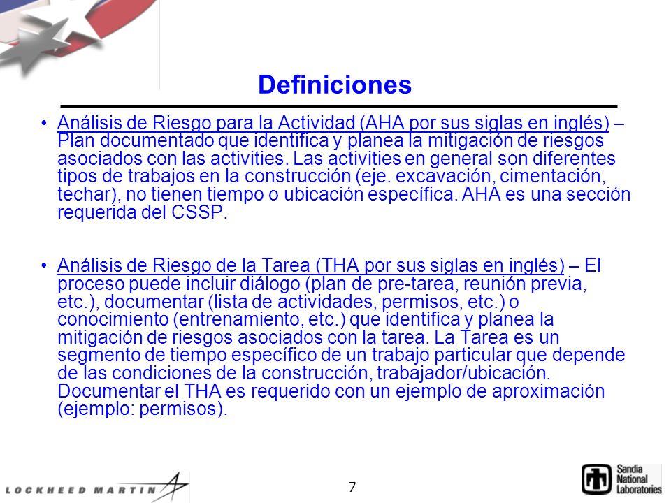 7 Definiciones Análisis de Riesgo para la Actividad (AHA por sus siglas en inglés) – Plan documentado que identifica y planea la mitigación de riesgos asociados con las activities.