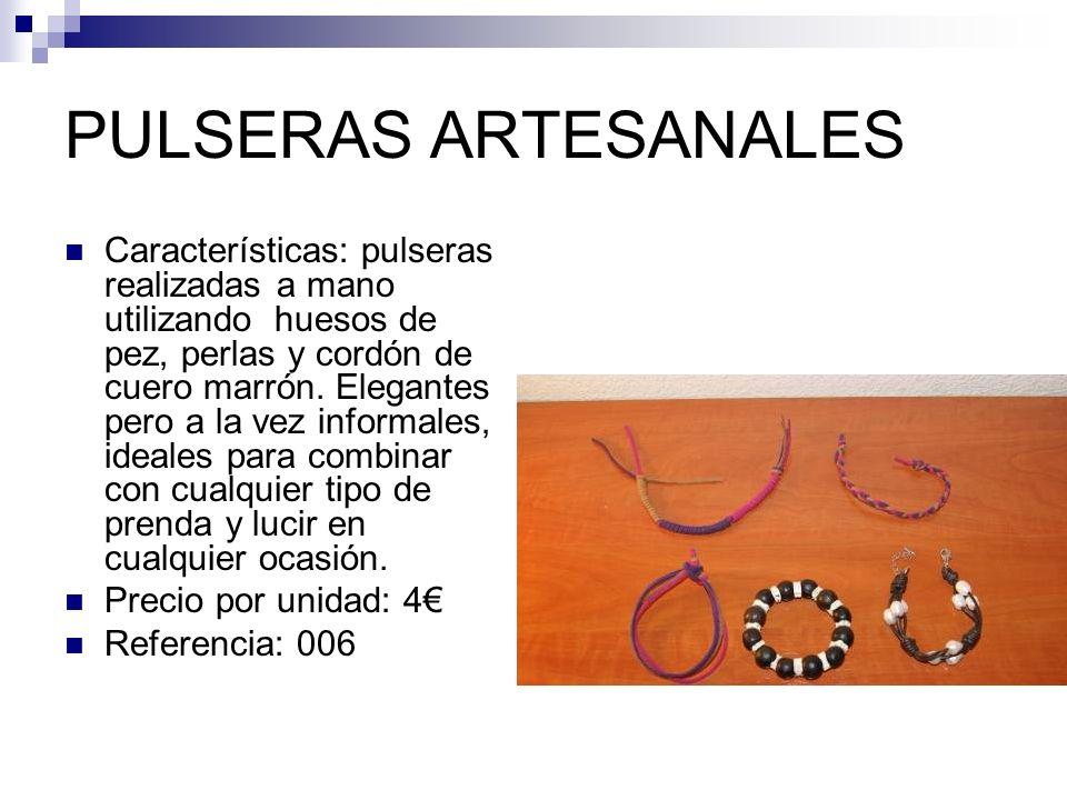 PULSERAS ARTESANALES Características: pulseras realizadas a mano utilizando huesos de pez, perlas y cordón de cuero marrón.