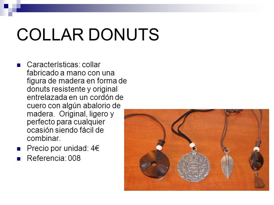 COLLAR DONUTS Características: collar fabricado a mano con una figura de madera en forma de donuts resistente y original entrelazada en un cordón de cuero con algún abalorio de madera.