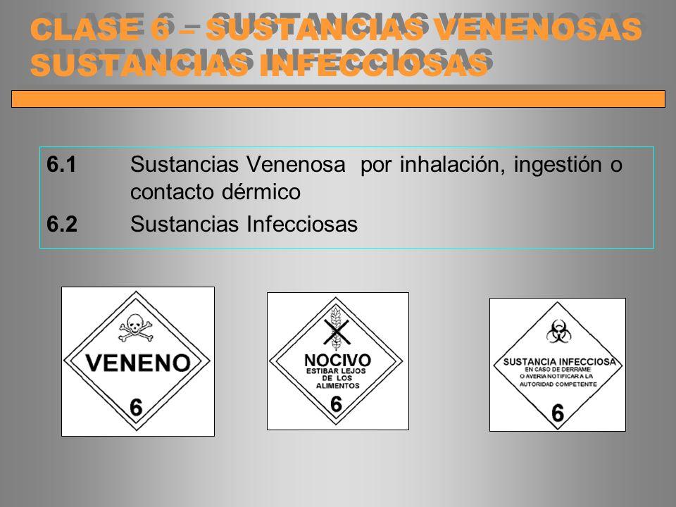 6.1 Sustancias Venenosa por inhalación, ingestión o contacto dérmico 6.2Sustancias Infecciosas CLASE 6 – SUSTANCIAS VENENOSAS SUSTANCIAS INFECCIOSAS