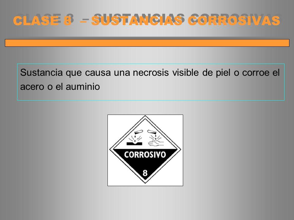 Sustancia que causa una necrosis visible de piel o corroe el acero o el auminio CLASE 8 – SUSTANCIAS CORROSIVAS