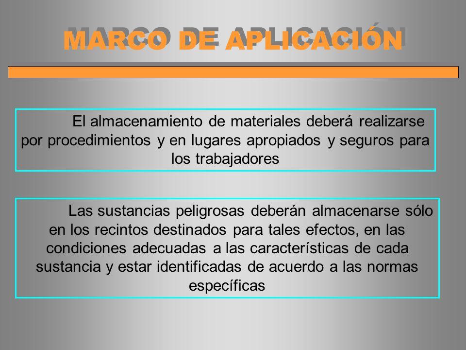 MARCO DE APLICACIÓN El almacenamiento de materiales deberá realizarse por procedimientos y en lugares apropiados y seguros para los trabajadores Las s