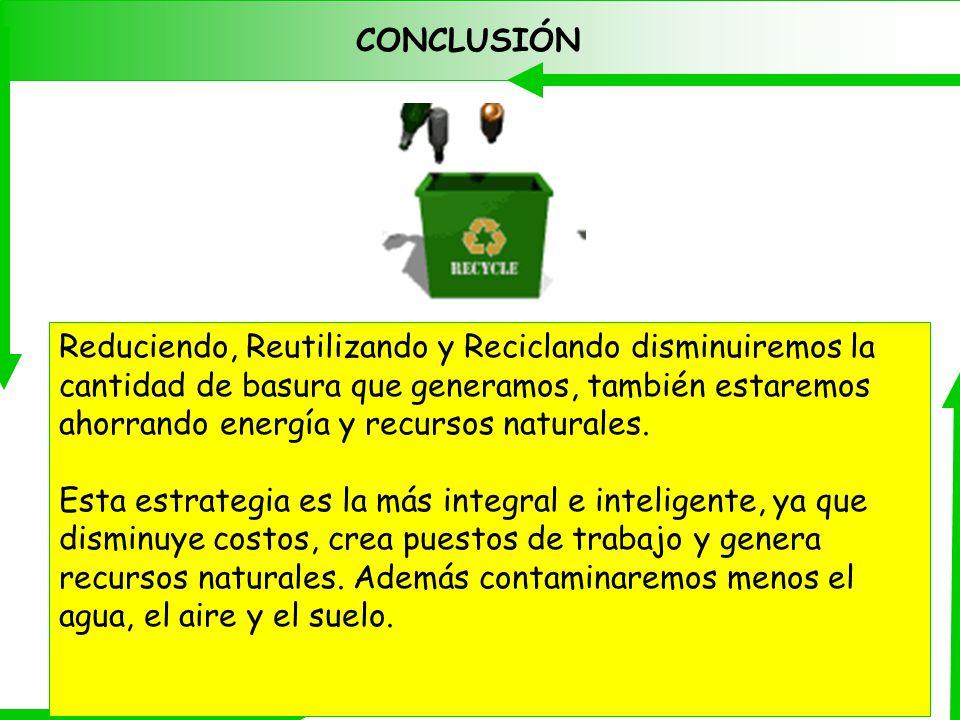 CONCLUSIÓN Reduciendo, Reutilizando y Reciclando disminuiremos la cantidad de basura que generamos, también estaremos ahorrando energía y recursos nat