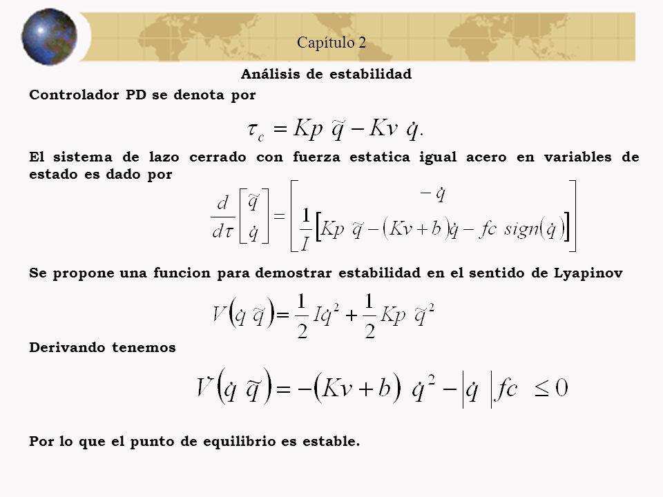 Capítulo 2 Análisis de estabilidad Controlador Todo o Nada se denota por Se propone una funcion para demostrar estabilidad en el sentido de Lyapinov E