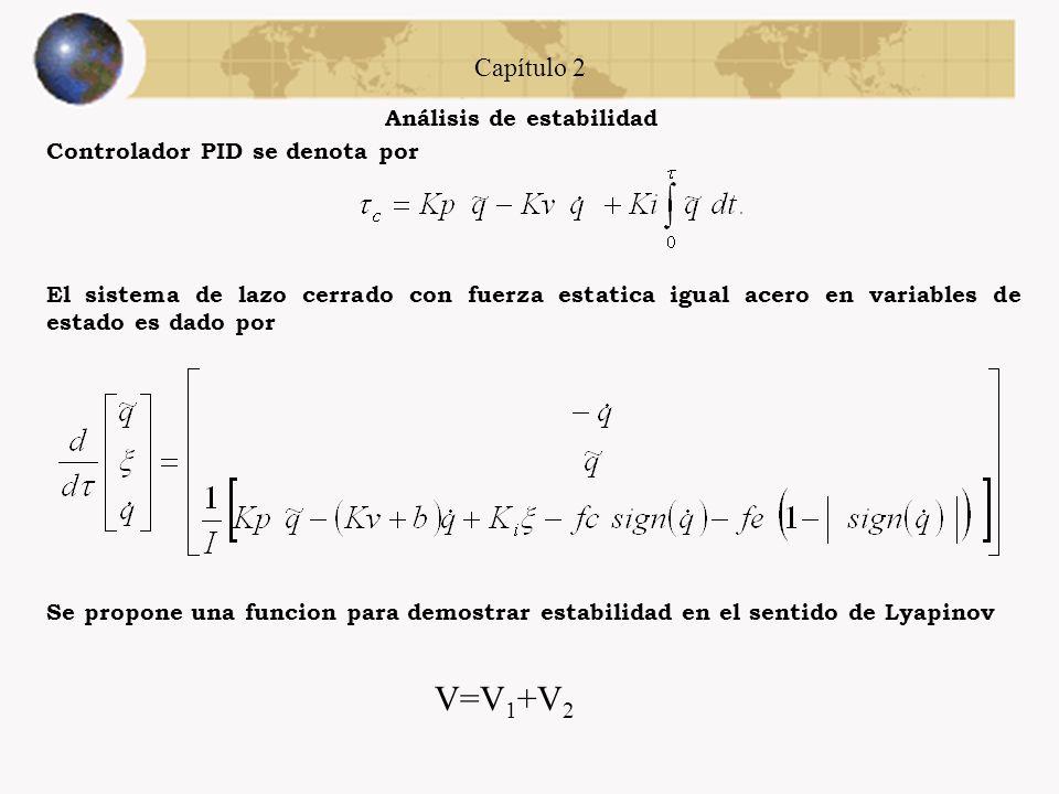 Capítulo 2 Análisis de estabilidad Controlador PD se denota por Se propone una funcion para demostrar estabilidad en el sentido de Lyapinov El sistema