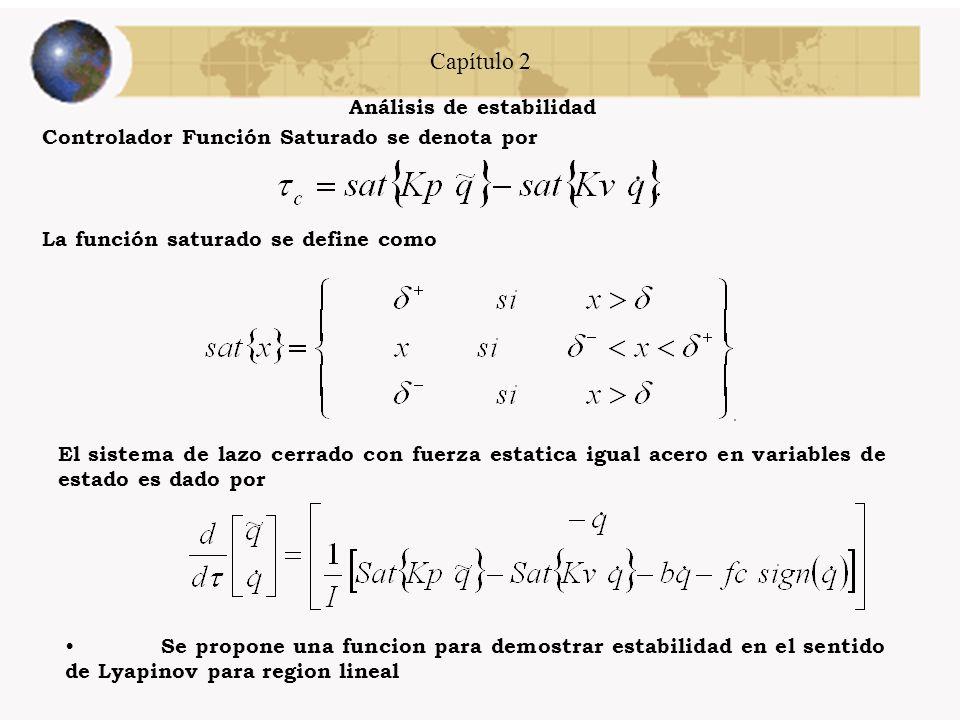 Capítulo 2 Análisis de estabilidad Controlador Función tangente hiperbólica se denota por Se propone una funcion para demostrar estabilidad en el sent