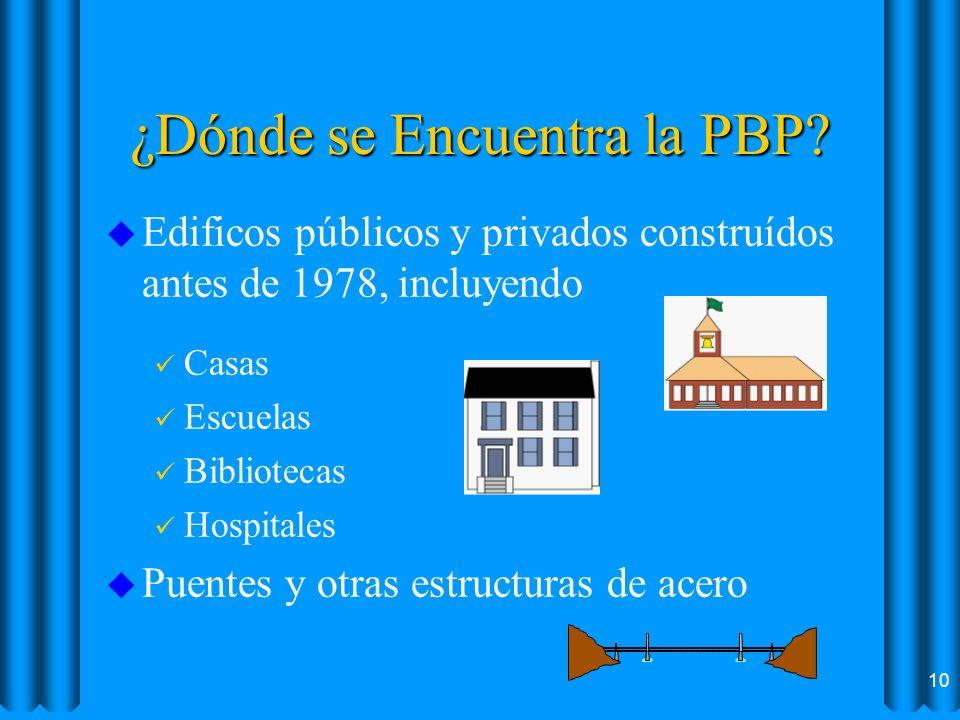 ¿Dónde se Encuentra la PBP? u Edificos públicos y privados construídos antes de 1978, incluyendo ü Casas ü Escuelas ü Bibliotecas ü Hospitales u Puent