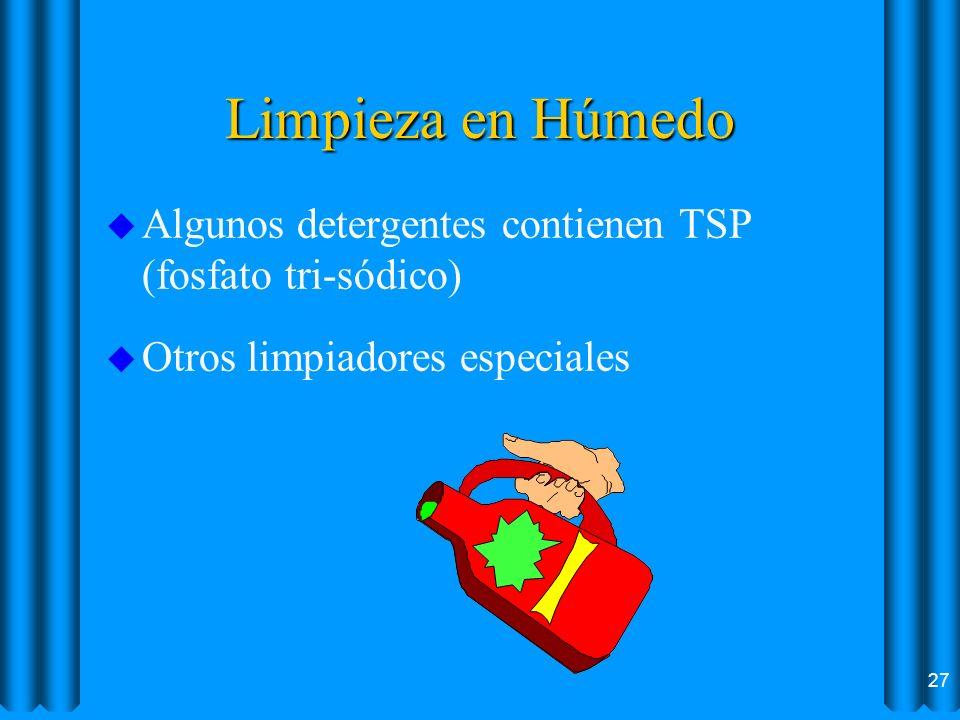 Limpieza en Húmedo u Algunos detergentes contienen TSP (fosfato tri-sódico) u Otros limpiadores especiales 27