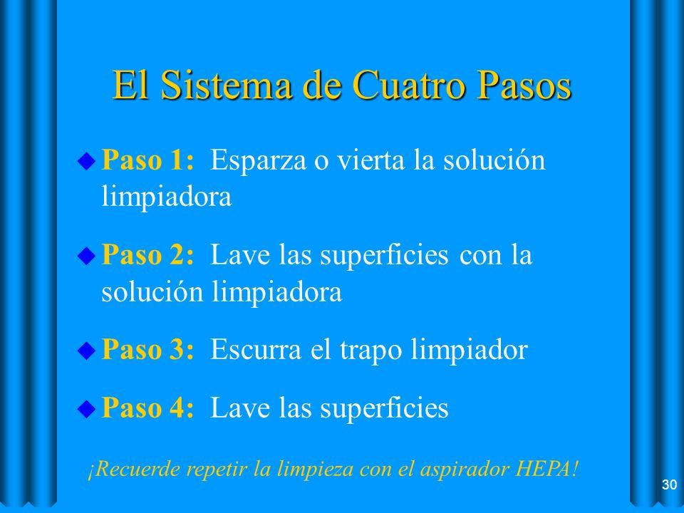 El Sistema de Cuatro Pasos u Paso 1: Esparza o vierta la solución limpiadora u Paso 2: Lave las superficies con la solución limpiadora u Paso 3: Escur